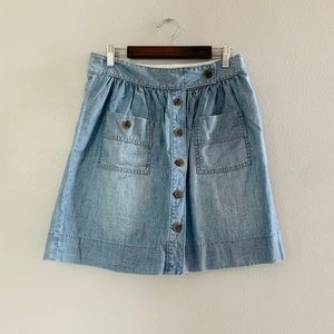 J.Crew Chambray Light Denim Button Front Skirt